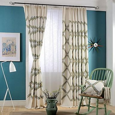 İki Panel Ülke / Modern / Neoklasik Çiçek/Botanik Çoklu-renk Yatakodası Linen / Pamuk Karışımı Panel Perde Perdeler