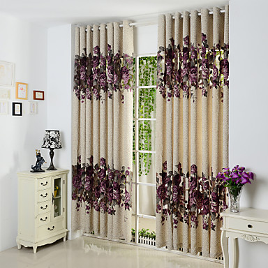Rod Pocket Grommet Top Tab Top Double Pleat Pencil Pleat Two Panels Curtain European, Hollow Out Polyester Material Curtains Drapes Home