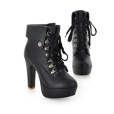 Womens Combat Boots Leatherette Fall Winter Casual Outdoor Combat Boots  Chunky Heel White Black Almond