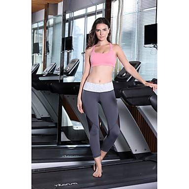 Queen Yoga Naisten Juoksuhousut Hengittävä Nelisuuntainen stretch Hikeä siirtävä 3/4 Sukkahousut Alaosat varten Jooga Kuntoilu Elastaani