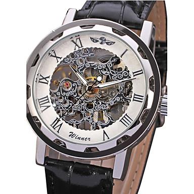 WINNER Herrn Armbanduhr / Mechanische Uhr Transparentes Ziffernblatt PU Band Luxus Schwarz / Mechanischer Handaufzug