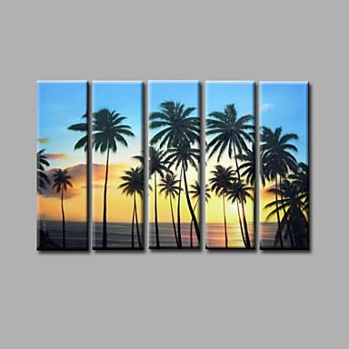 Maalattu Maisema / Abstraktit maisemakuvatModerni 5 paneeli Kanvas Hang-Painted öljymaalaus For Kodinsisustus