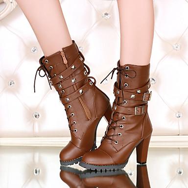 Kadın Ayakkabı Yapay Deri Sonbahar Kış Kalın Topuk Yarı-Diz Boyu Çizmeler Toka Bağcıklı Uyumluluk Günlük Siyah Kahverengi