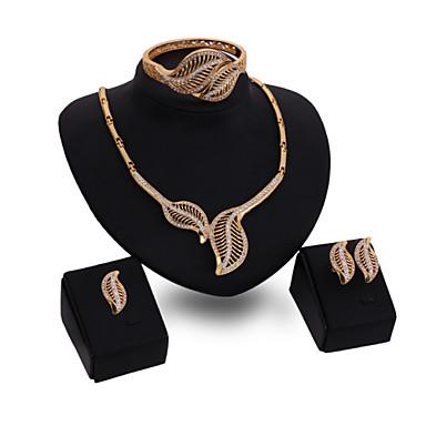 בגדי ריקוד נשים סט תכשיטים זירקוניה מעוקבת ציפוי זהב 18K זהב סגסוגת וינטאג' חמוד מסיבה עבודה יום יומי תכשיטים גדולים אופנתי שרשרת\חוליות