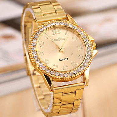 Women's Fashion Watch Quartz Imitation Diamond Alloy Band Gold