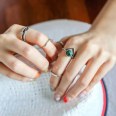 European Style Retro Fashion Simple Imitation Turquoise Ring Set