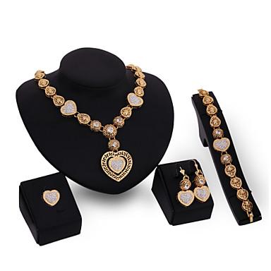 Mulheres Conjunto de jóias Conjunto de Jóias - Zircônia Cubica, Banhado a Ouro 18K Dourado