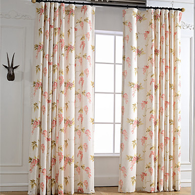Rod Pocket Grommet Top Tab Top Double Pleat Pencil Pleat Two Panels Curtain Country Modern Neoclassical Mediterranean European , Print &