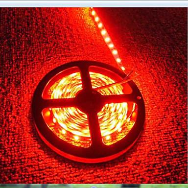 5 m 600 LED 3528 SMD Rød Vanntett / Kuttbar / Oppladbar 12 V / IP65 / Selvklebende