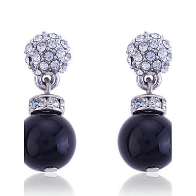 Feminino Brincos Compridos Moda Europeu Pérola Prata de Lei Cristal Imitação de Pérola Prata Chapeada Imitações de Diamante Pérola Negra