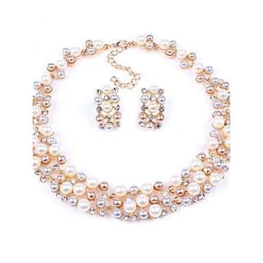 Women's Pearl Imitation Pearl Rhinestone Jewelry Set Earrings Necklace - Bridal Fashion European Jewelry Set For Wedding Party Birthday
