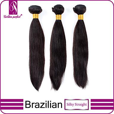 baratos Extensões de Cabelo Natural-3 pacotes Cabelo Brasileiro Liso Clássico 10A Cabelo Virgem Cabelo Humano Ondulado Tramas de cabelo humano Extensões de cabelo humano / Reto
