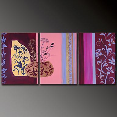 El-Boyalı Çiçek/BotanikModern Üç Panelli Kanvas Hang-Boyalı Yağlıboya Resim For Ev dekorasyonu
