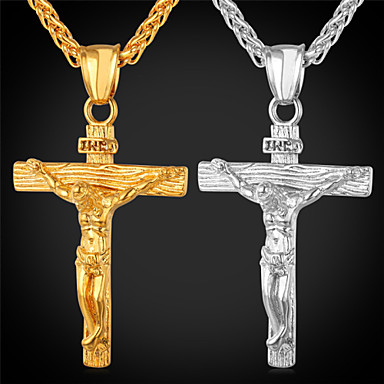 Men's Pendant Necklace - 18K Gold Plated Cross Fashion, Hip-Hop Gold, White Necklace For Party, Daily Wear, Street