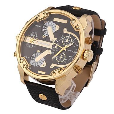 Men's Wrist watch Military Watch Quartz Calendar / date / day Dual Time Zones Leather Band Cool Black Brown Khaki