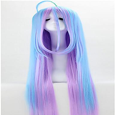 Syntetiske parykker Rett Syntetisk hår Parykk Lokkløs Regnbue