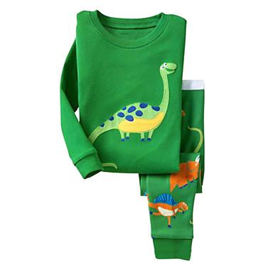 للأطفال مجموعة ملابس يوميا ذهاب للخارج عطلة قطن ربيع خريف كم طويل كرتون أخضر