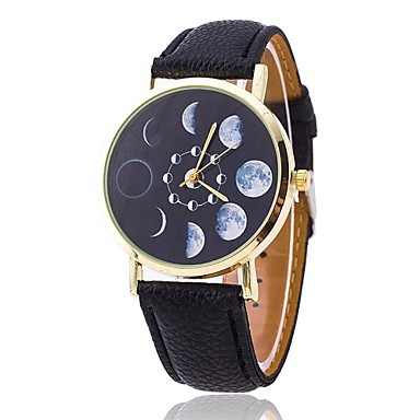 Women's Fashion Watch Quartz Casual Watch PU Band Charm Black White Red Brown Grey