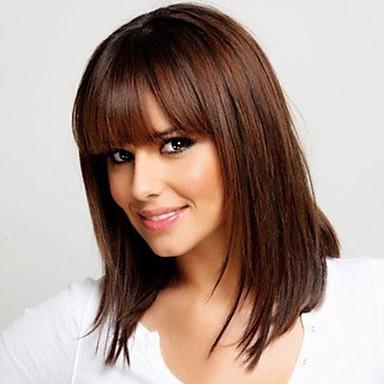İnsan Saçları Kapsız Peruklar Gerçek Saç Düz Bonesiz Peruk