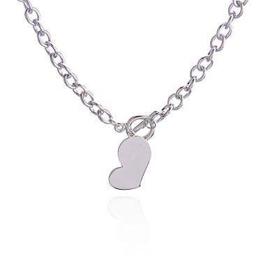 Feminino Colares com Pendentes Formato de Coração Liga Amor Estilo simples Europeu Prata Jóias Para Festa Diário Casual 1peça