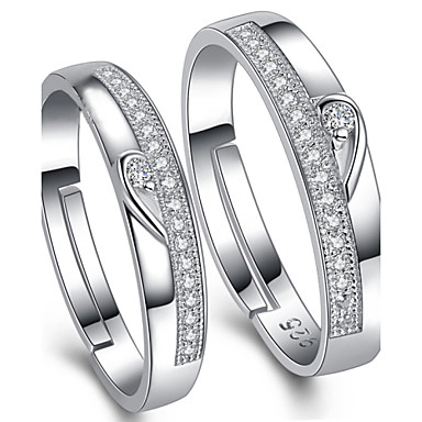 Couple's Couple Rings - Sterling Silver, Cubic Zirconia Adjustable Silver For Wedding / Party / Daily