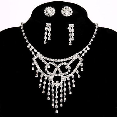 Women's Chain Necklaces Rhinestone Alloy Handmade Luxury Jewelry For Wedding Party Engagement