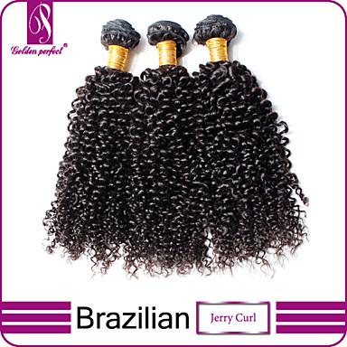 baratos Extensões de Cabelo Natural-3 pacotes Cabelo Brasileiro Clássico Kinky Curly 10A Cabelo Virgem Cabelo Humano Ondulado 12-14 polegada Tramas de cabelo humano Extensões de cabelo humano / Crespo Cacheado