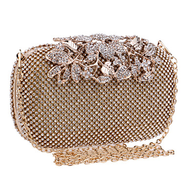 Women Bags Polyester Metal Evening Bag Crystal/ Rhinestone for Wedding Event/Party Formal All Seasons Gold