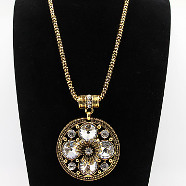 Rounde Flower Crystal Rhinestone Pendant Golden Chain Necklace