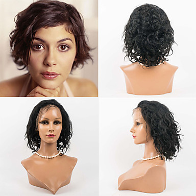 12inch Lace Front Hair Wigs Indian Virgin Hair 100% Human Hair Lace Front Wavy Style Wigs for Women