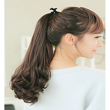 Com Adesivo Ondulado Cabelo Sintético Pedaço de cabelo Alongamento Arco-Íris