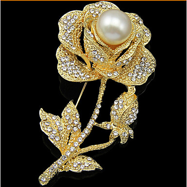 33e76e259d1 Women's Brooches Pearl Cubic Zirconia Rose Gold Plated Roses Flower Ladies  Luxury Party Fashion Brooch Jewelry Gold For Wedding Party Special Occasion  ...