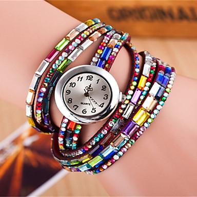 Damen Armband-Uhr Quartz Mehrfarbig Leder Band Analog Glanz Böhmische Modisch Schwarz / Weiß / Rot - Schwarz Kaffee Rot Ein Jahr Batterielebensdauer / Tianqiu 377
