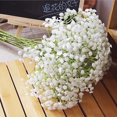 Artificial Flowers 6 Branch Pastoral Style Baby Breath Tabletop Flower