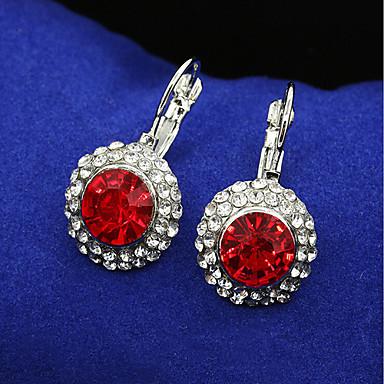 Viseće naušnice Kristal luksuzni nakit Plastika Kubični Zirconia Pozlaćeni imitacija Diamond Circle Shape Geometric ShapePink Crvena Navy