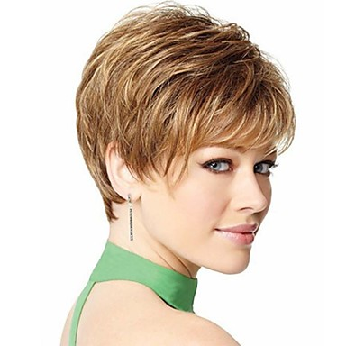 New Stylish Blonde Brown Color Short Wavy Synthetic Hair Wig