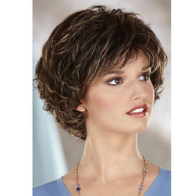 divat hölgy rövid barna, szőke, hullámos vegyes szintetikus parókák