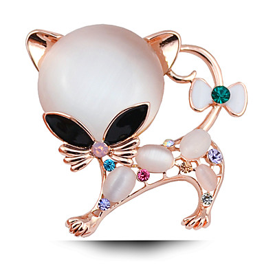 Super Adorable Kitten Opal Plated Brooch
