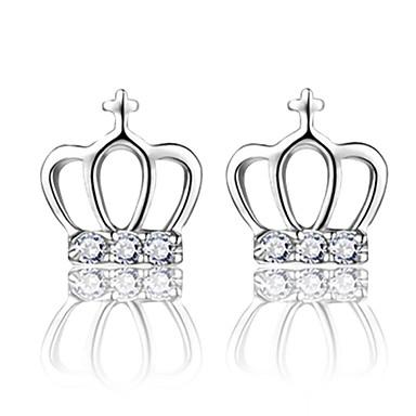 Beszúrós fülbevalók utánzat Diamond luxus ékszer Divat Ezüst Kristály utánzat Diamond Crown Shape Ezüst Ékszerek Mert Esküvő Parti Napi
