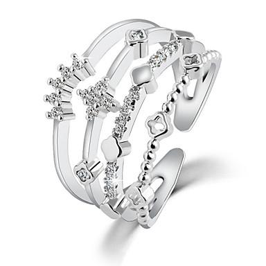 Anéis de Casal Cristal Zircão Estilo simples Moda Prata Dourado Jóias Casamento Festa Diário 1peça