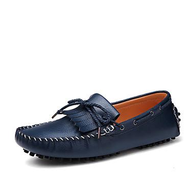 Férfi cipő Bőr Tavasz Nyár Ősz Tél Kényelmes Vitorlás cipők Fűző Kompatibilitás Hétköznapi Fehér Barna Haditengerészet
