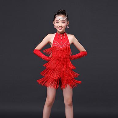 Latin Dance Dresses Children's Performance Polyester Crystals/Rhinestones Tassel Sleeveless High Dress Gloves