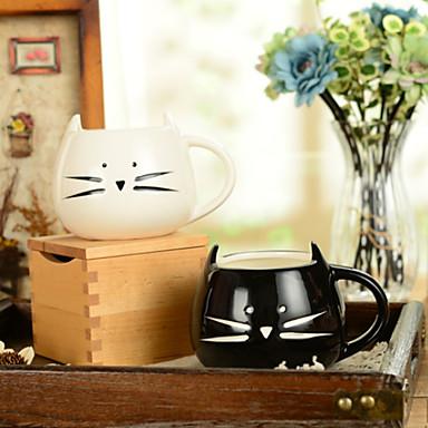 300 ml alb-negru drăguț pisică de pisică pentru pahare de apă creatoare (5.1