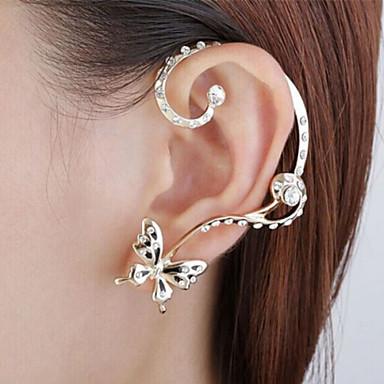 Punhos da orelha Strass imitação de diamante Liga Formato Animal Borboleta Prata Jóias Para Festa Diário Casual Esportes 1 Conjunto
