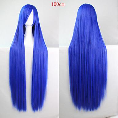 Syntetiske parykker Rett Asymmetrisk frisyre Syntetisk hår Naturlig hårlinje Blå Parykk Dame Lang Cosplay-parykk Lokkløs Halloween / Fest