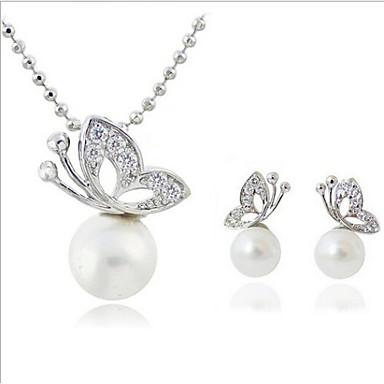 Damen Schmuckset Halskette / Ohrringe Perle Künstliche Perle Strass versilbert Diamantimitate Aleación Schmetterling Tier Luxus Klassisch