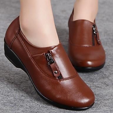 Kényelmes / Kerek orrú - Parafa - Női cipő - Félcipők - Alkalmi - Nappa Leather - Fekete / Barna
