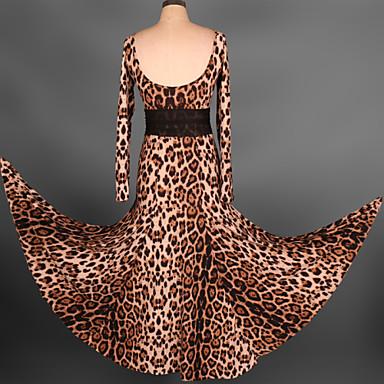 Shall We Latin Dance Dresses Women's Performance Spandex Pleated 1 Piece Black / Red / Leopard Print