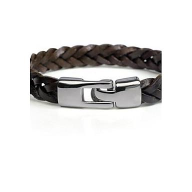 voordelige Armband-Heren Lederen armbanden gevlochten Klassiek Feest Werk Informeel Standaard Leder Armband sieraden Zwart / Bruin Voor Lahja Dagelijks Causaal Sport mielitietty