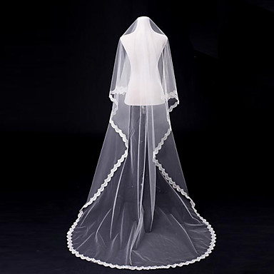 One-tier Lace Applique Edge Wedding Veil Blusher Veils Chapel Veils Cathedral Veils With Applique Tulle